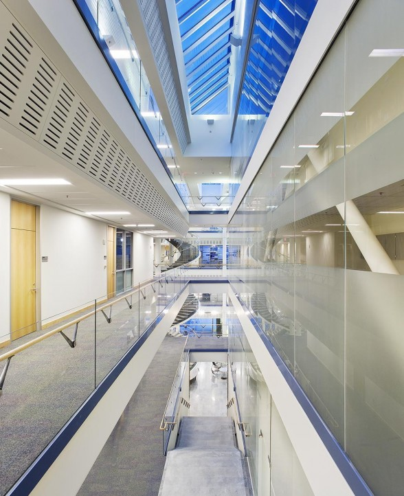 University of Michigan interior education building with skylights 588x722